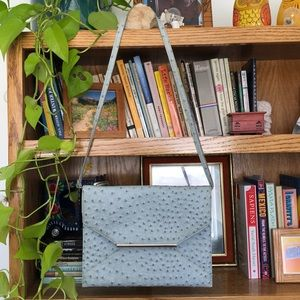 Blue Crocodile Vegan Leather Clutch Crossbody Bag